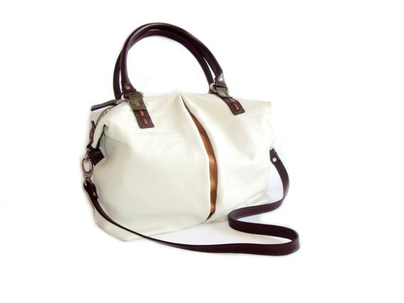 Large Beige Brown Leather Shoulder Bag Hobo Bag by RenaBags, $139.00