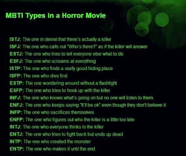 MBTI types in horror movies - ENFP...this is why I never watch scary movies haha