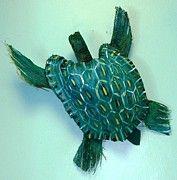 Palm Frond Art Animals   Animal Palm Frond Art - Turtle Time by Ellen Burns