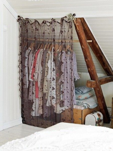 If we use the closet for something else, this is a good idea for hanging clothes... against the slanted wall which is hard to make good use of.