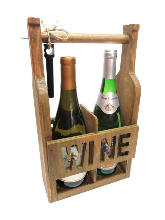 Wine Tote -  2 Bottle Wine Carrier - Unique Cutout Style - Groomsmen Gift - Bridesmaid Gift  - Wedding Gift - Hostess Gift - Wine Lover Gift...