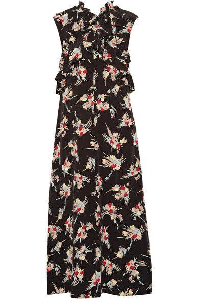 Marni - Ruffled Floral-print Silk Crepe De Chine Midi Dress - Black - IT44