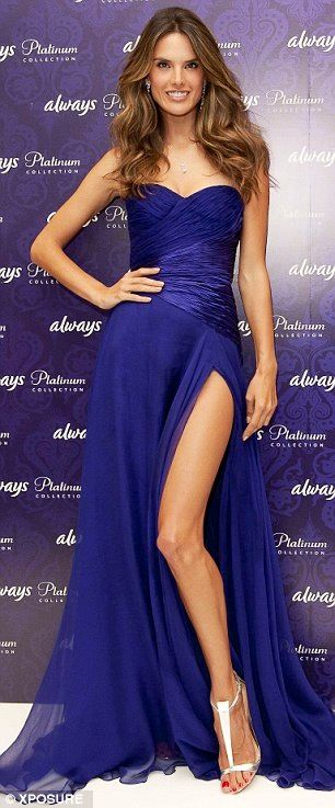 Alessandra Ambrosio in Royal Blue Gown