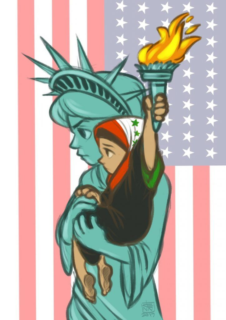 Protest Cartoon's to Trump's Muslim Ban in the USA