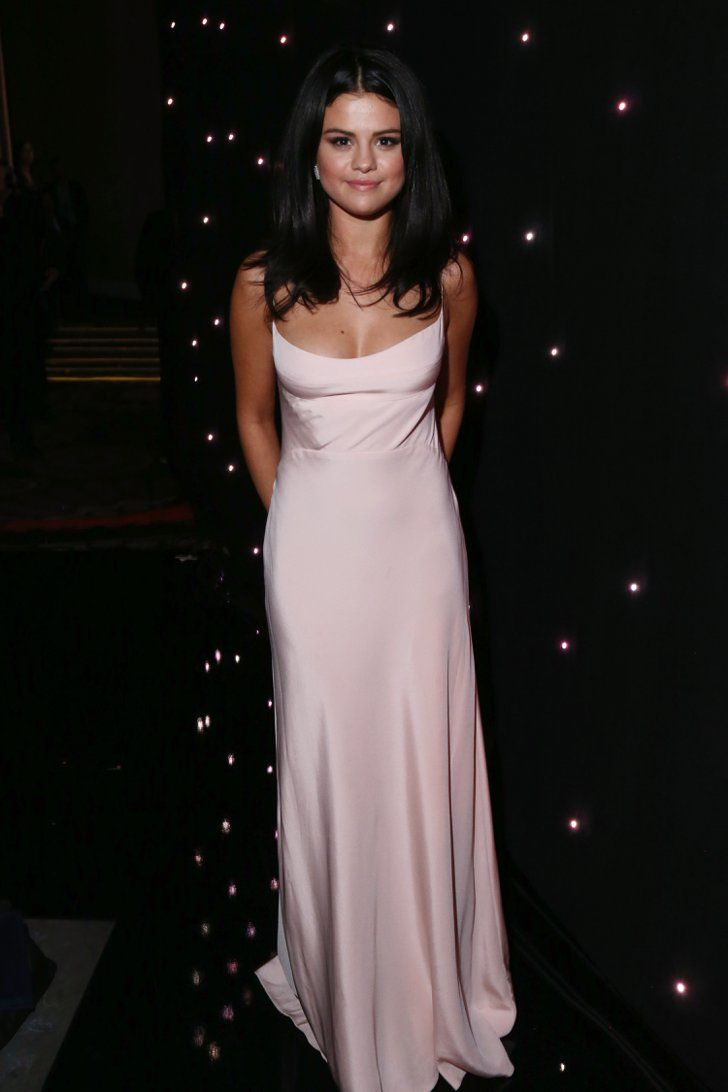 Pin for Later: With These Gowns, You'd Be Forgiven For Thinking the Hollywood Film Awards Were a Fashion Party Selena Gomez Selena Gomez went with a pale pink Narciso Rodriguez gown in a look styled by Kate Young.