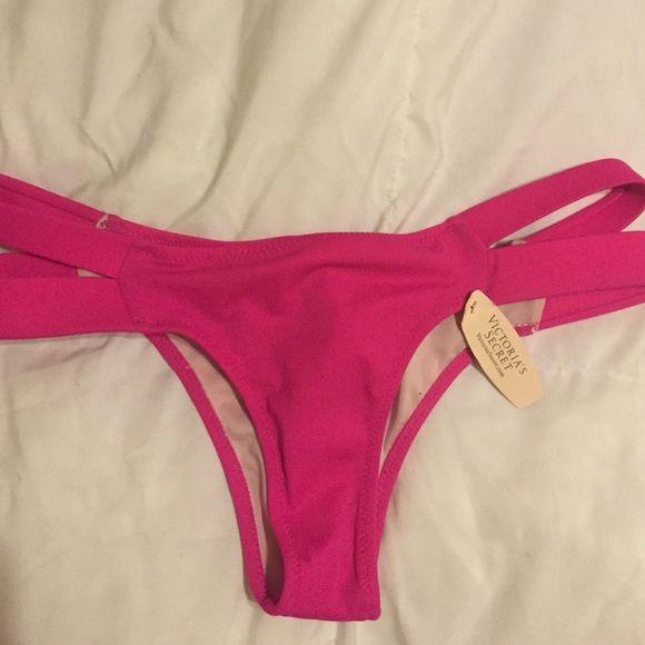 VS pink bikini bottoms Brand new hot pink bikini bottoms with straps on the side Victoria's Secret Swim Bikinis