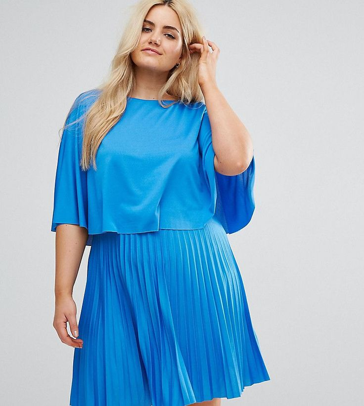 ASOS CURVE Kimono Cape Pleated Mini Dress - Blue