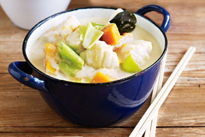 Fish and pumpkin green curry