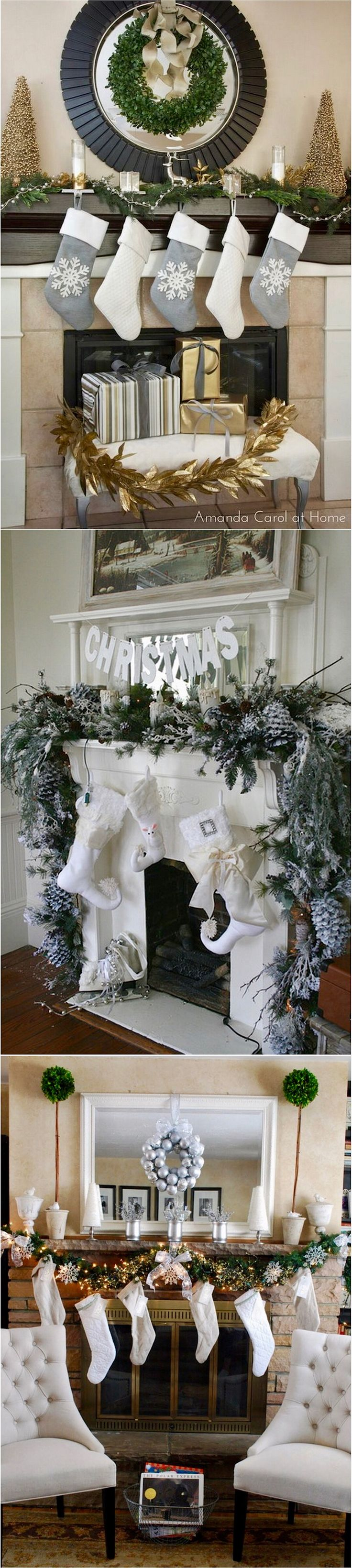 Best Christmas Mantels Images On Pinterest Christmas - Fireplace mantel christmas decorating ideas