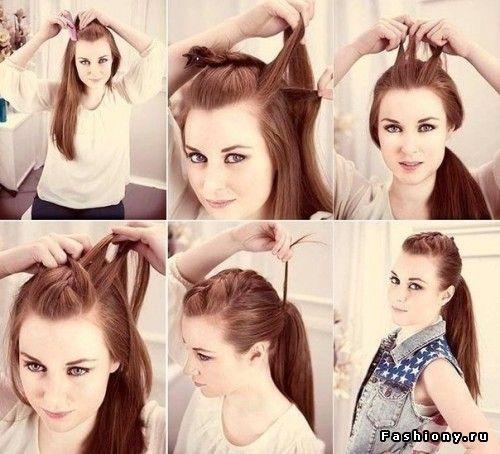 2 braids and ponytail