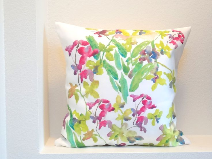 Orchids Pillow Cover Watercolor Orchids by pineapplebaystudio