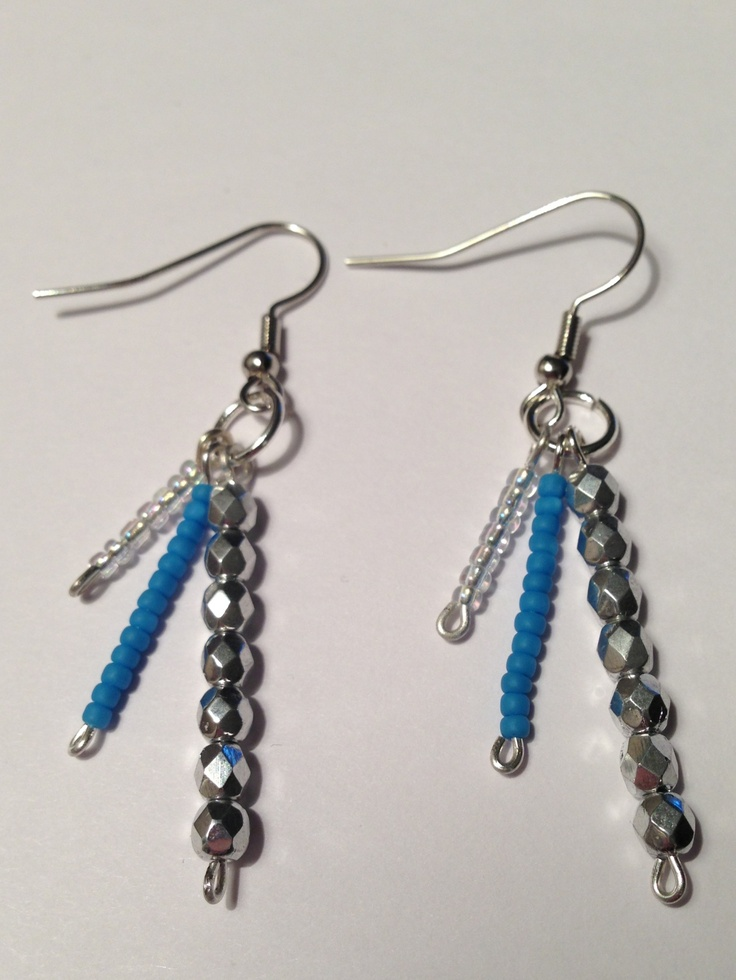 Silver and blue earings