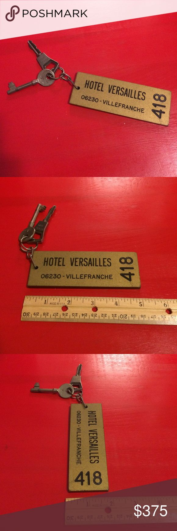 Mid-Century Hotel Versailles Keychain Original authentic collectors keychain with the two original keys  Vintage Accessories Key & Card Holders