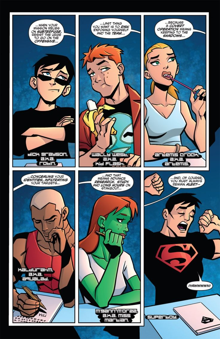 Young Justice Briefing. Something tells me they aren't listening carefully.