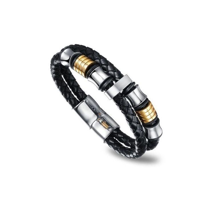 Flott herrearmbånd i flettet sort skinn med sølv og gull fargede perler.