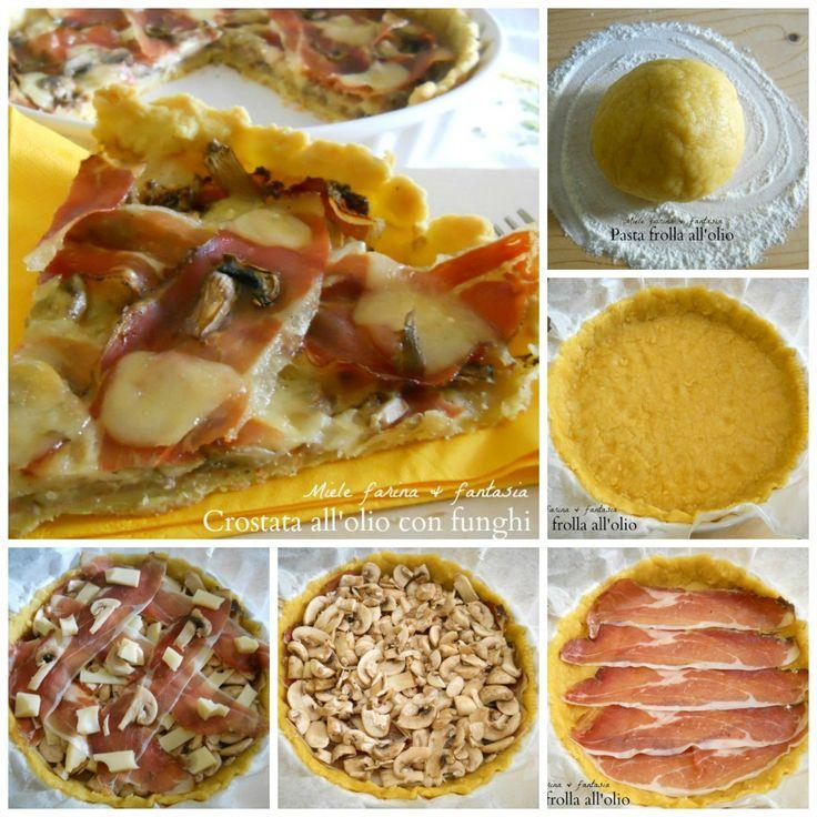 Crostata con funghi e speck. Ricetta con pasta frolla all'olio