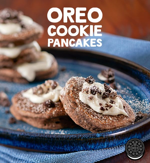 Have a deliciously sweet morning with these OREO cookie pancakes.
