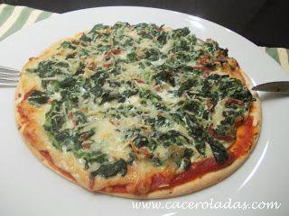 Caceroladas: Pizza de espinacas con jamón.