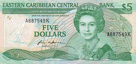 5 Долларов (1985-1993) Британские Виргинские острова (British Virgin Islands) Северная Америка