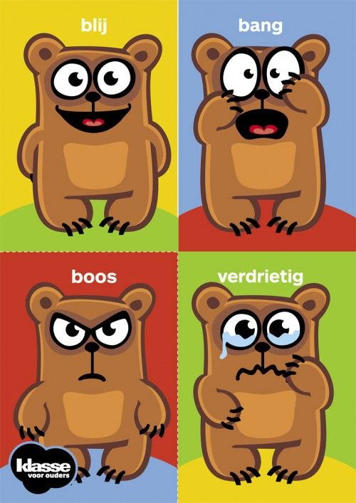 Knip deze gevoelskaarten en hang ze op in de klas. Laat je kleuters met een wasknijper met hun naam of symbool op geregeld aanwijzen hoe ze zich in de klas voelen.