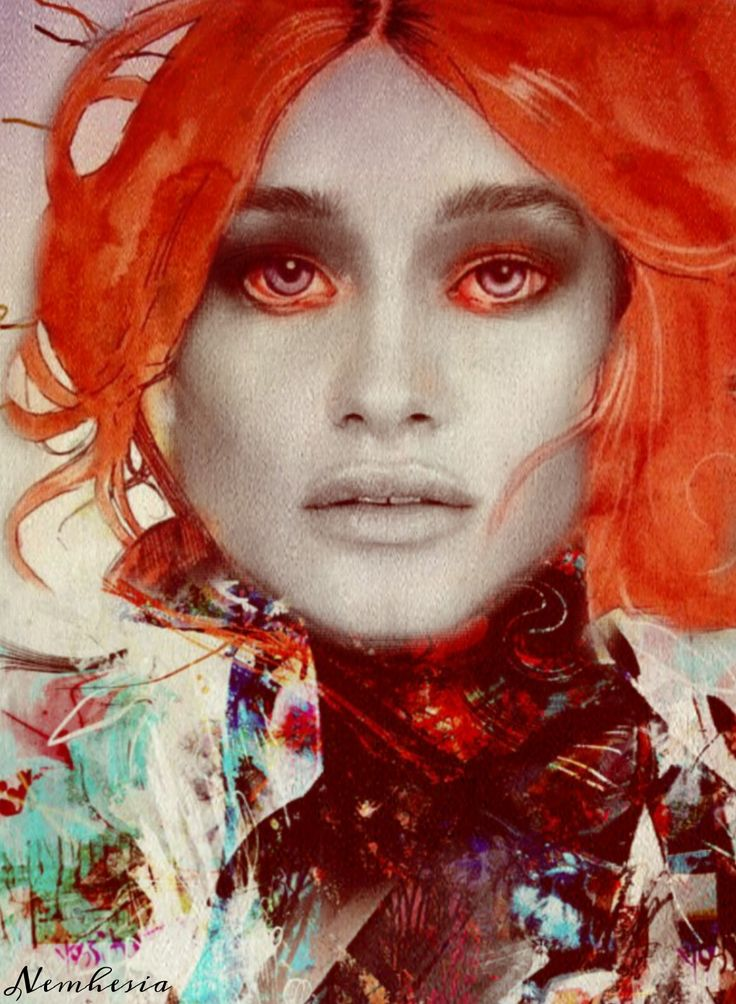 Digital art by Nemhesia.  #art #woman #surrealism #conceptart #portrait #sexy #eyes #emotional #emotions #tears #sadness #loneliness #beautiful #painting #colorful #colorsplash #look #watercolor #pain