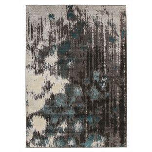 Capri Modern Rug Blue Charcoal Grey