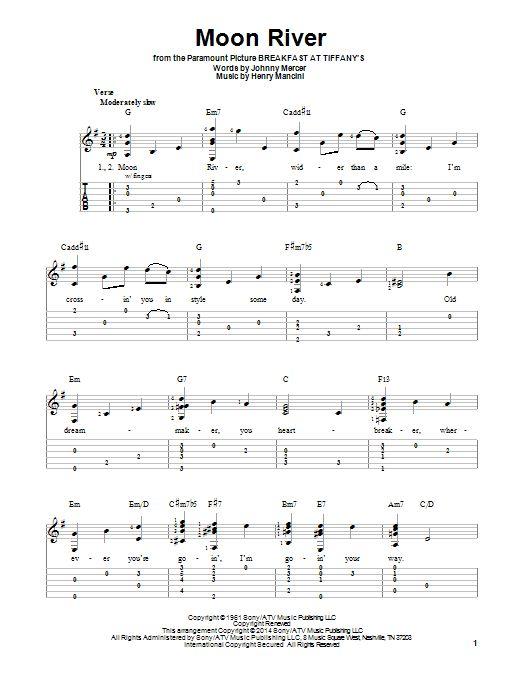 Henry Mancini: Moon River - Partition Tablature guitare facile - Plus de 70.000 partitions à imprimer !