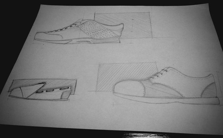bocetación rápida de zapatos  lápiz B