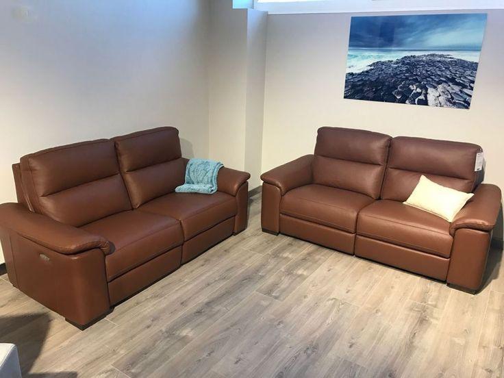 Sofá 3 Plazas con 2 relax motor en piel marrón en LIQUIDACION (2 unidades)