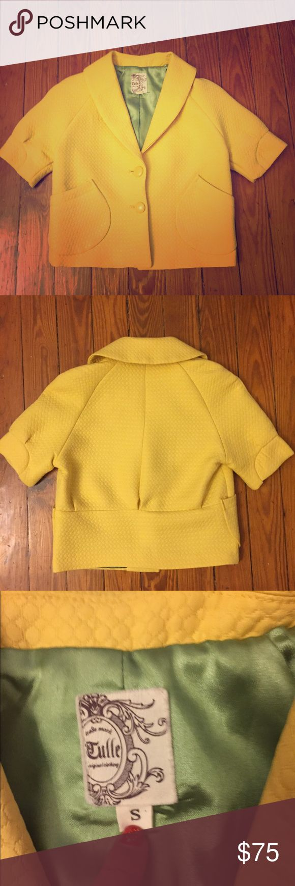 Vintage Yellow Crop Blazer Rare Find by Tulle Sm Vintage Yellow Crop Blazer Rare Find by Tulle Size Small. Would fit xs too. In excellent vintage condition. No imperfections. Era 40's/50's. Adjustable Collar. Original yellow buttons. Beautiful Green Silk Lining. Comment if you need measurements. Bundle and Save!!! Tulle Jackets & Coats Blazers