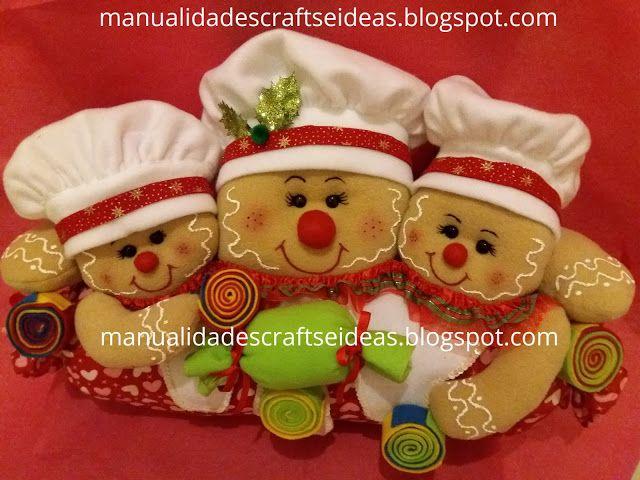 ¿Cómo hacer Cojín Caramelo Navideño con muñecos de Jenjibre? y sus moldes