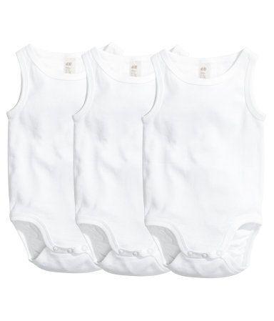 3-pak bodyer | Hvid | Børn | H&M DK