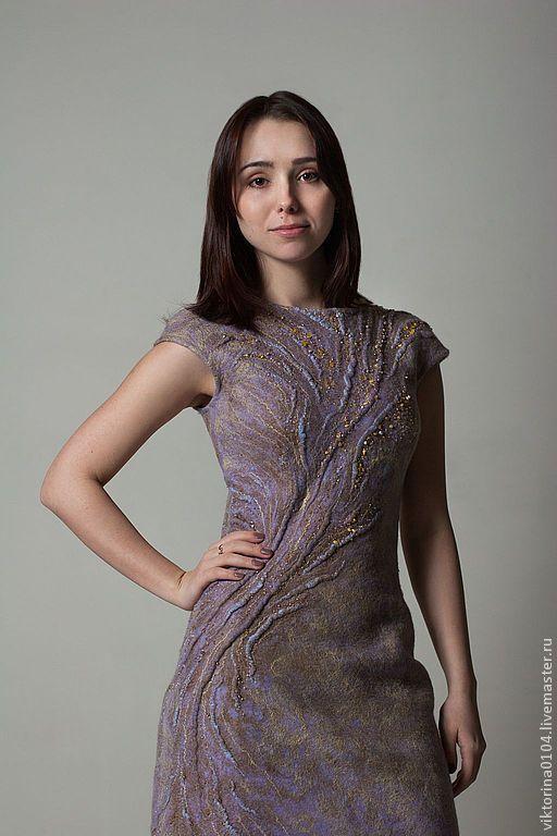 """Купить Платье валяное """"Интрига"""" - абстрактный, платье валяное, мятный, жемчужный, нежный, шерсть мериноса"""