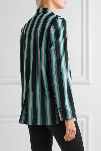 Topshop Unique - Beale Striped Satin-twill Blazer - Turquoise - UK