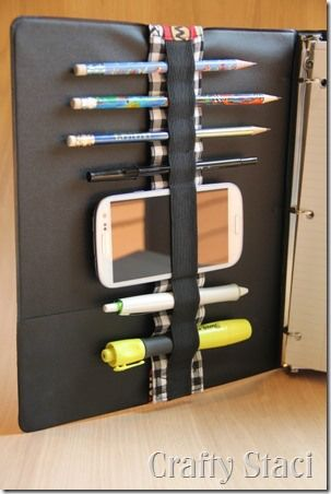 Binder Bandolier - Crafty Staci 3 -A cool sewing project to make to organize your pens & pencils, etc in you 3 ring binder
