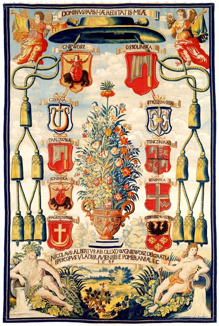 Genealogical tapestry of Mikołaj Wojciech Gniewosz of Oleksów, Bishop of Włocławek by Maximilian van der Gucht, 1645 (PD-art/old), Skoklosters slott, commissioned through dealer Stefan Oborski in Delft
