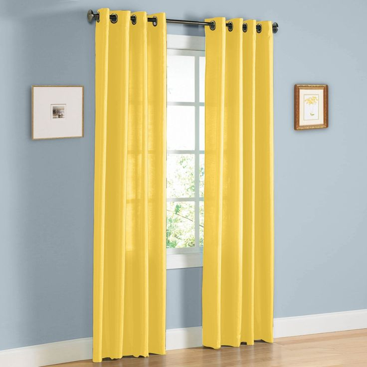 Hlc Me Pair Of Bright Yellow Faux Silk Grommet Curtain Panels 58 By 95 Inch