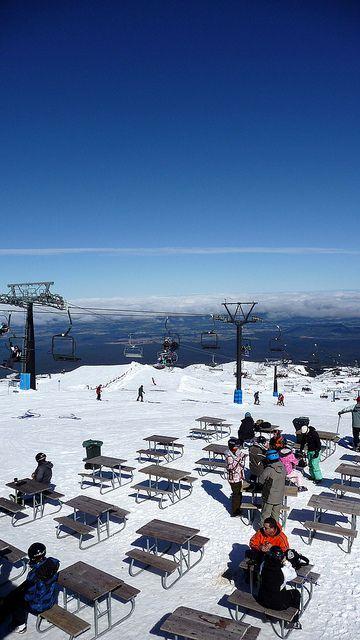 Sunny morning from the Giant Cafe, on the Turoa Ski Field on Mt Ruapehu, New Zealand