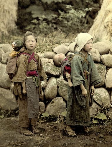 Japanese Children. Circa 1900.