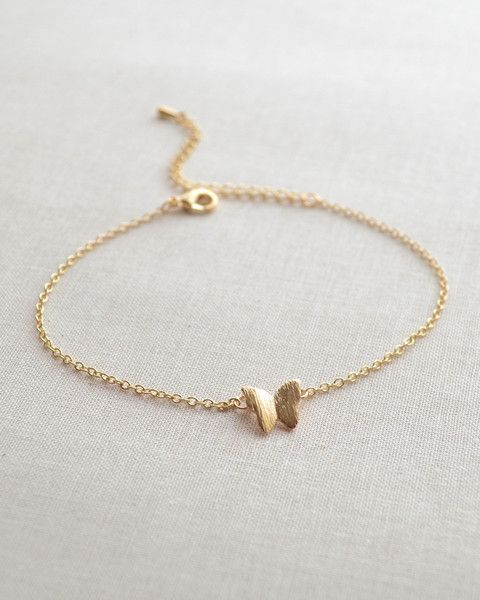 Butterfly Bracelet - dainty silver or gold butterfly charm bracelet is adjustable from 7 - 9 inches. By Olive Yew.