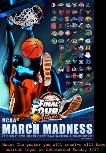 NCAA Men's Basketball Final Four 2013 Official Poster - All 68 Team Logos - ProGraphs LLC
