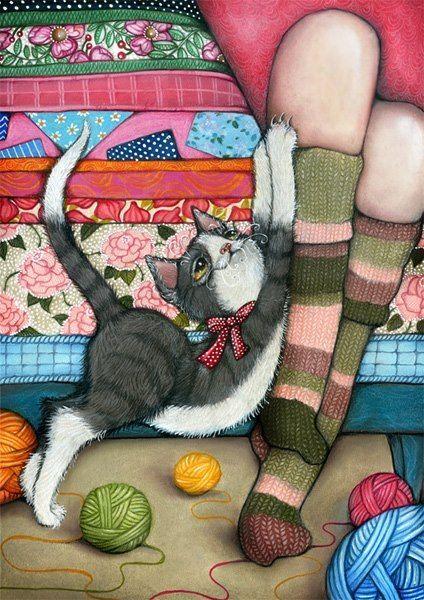 Cat art by Annika Hiltunen