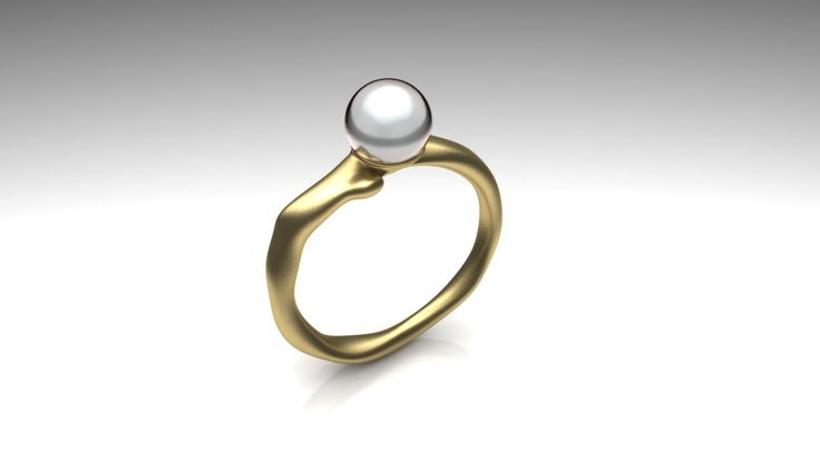 Organic ring with white pearl Made for customer by Marleen van Kempen