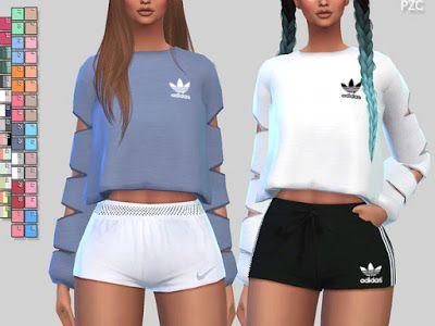 The Sims 4 Mody: Bluzy sportowe 056 od Pinkzombiecupcakes