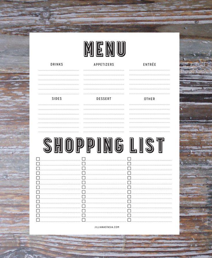 Free menu planner printable.
