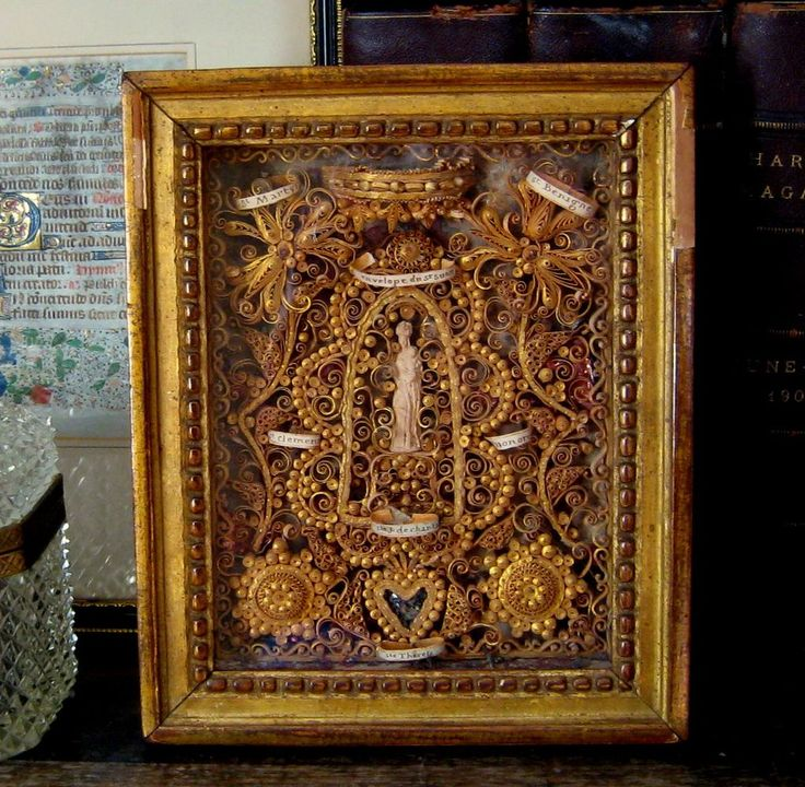 Antique French Paper Filigree Reliquary 18th Century