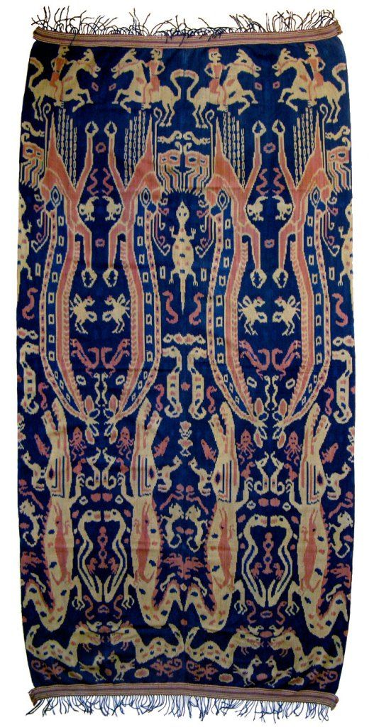 Pua Ikat ceremonial blanket, Serawak, North Borneo Multicolored with animistic worship creature. Material: Cotton Age: 80-100 years Size: 43″ x 100″