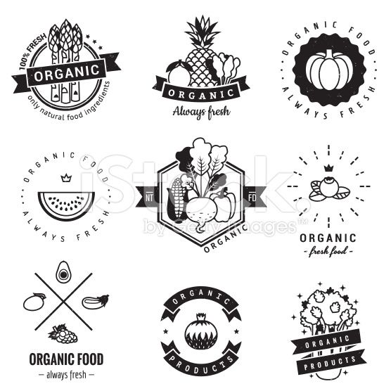 Organic food logo vintage vector set. Hipster and retro style. royalty-free stock vector art