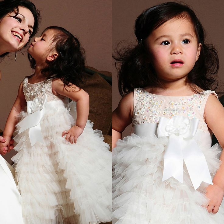 Ас картина бальное платье аппликации вышивка бисером бант средняя средний-икры платья девочки дети свадьба красивый цветок девочка платья