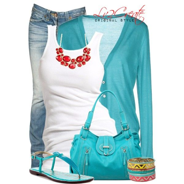 Love these colors together and really love the Turquoise cardigan!!! created by lv2create on Polyvore